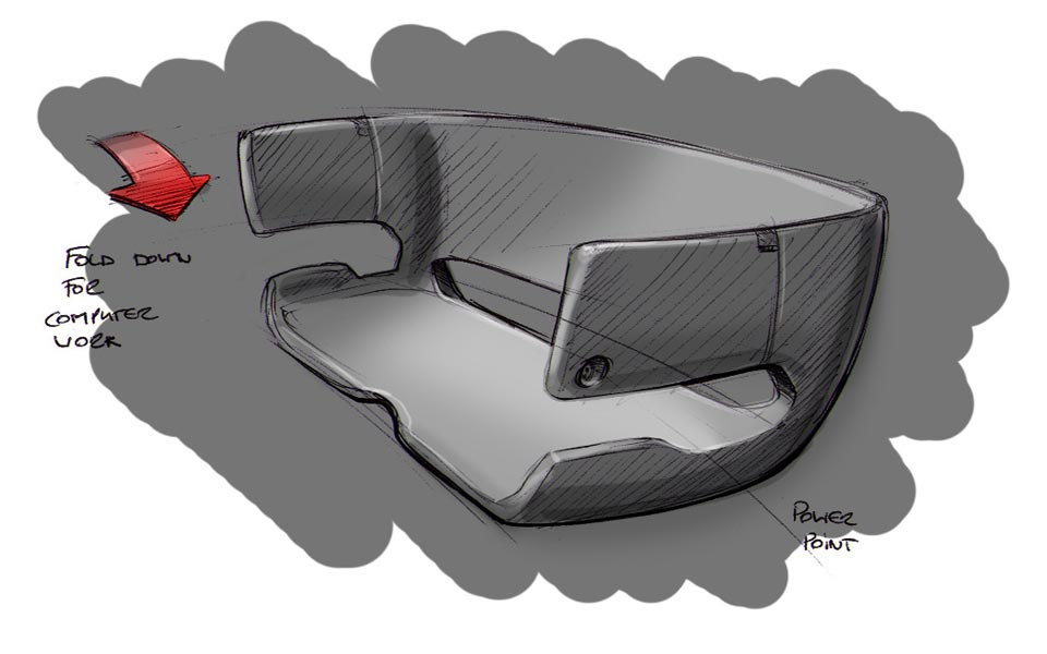 Concept sketch for interior seating