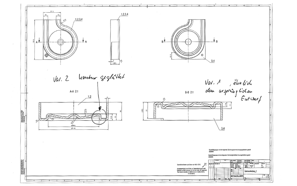 Technical drawing for thermoforming tool